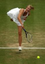 Maria Sharapova finishing her serve at Wimbleton 2007.jpg