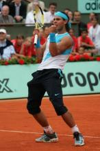 Rafael Nadal celebrating on court at French Open 2007.jpg