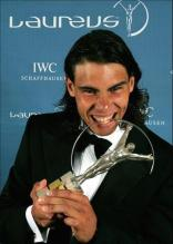 Rafael Nadal holding Laureus World Awards.jpg