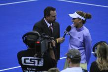 Monica Seles being interviewed on the court.jpg