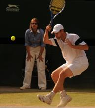 Andy Roddick spins a forehand during the 2009 Wimbledon finals.jpg