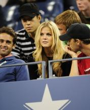 Andy Roddick's wife Brooklyn Decker watches from the stands in US OPEN 2009 in New York.JPG