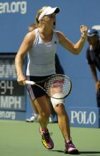 Melanie Oudin says come on.JPG