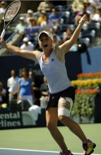 Melanie Oudin celebrates after defeating Elena Dementieva at the US Open 2009.JPG