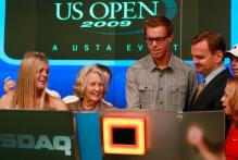 Melanie Oudin and Sam Querrey preside over the NASDSAQ opening bell.JPG