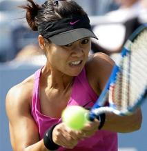 Li Na hits a two handed backhand during the US Open.JPG