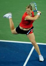 Kim Clijsters powerful forehand follow through at the US Open.JPG