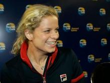 Kim Clijsters smiles during a media conference in Belgium.JPG