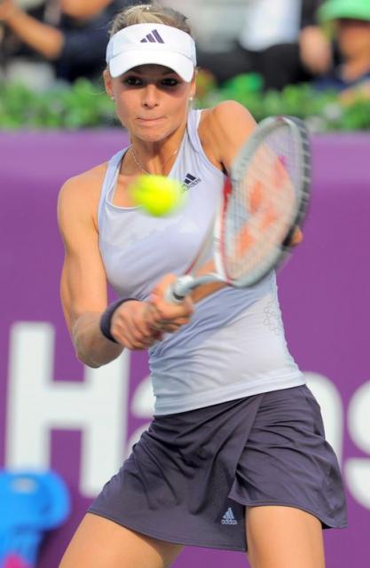 Maria Kirilenko hits a two handed backhand in the Korean ...