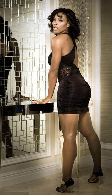 Sexy photo of Serena Williams in short black dress and heels.JPG ...