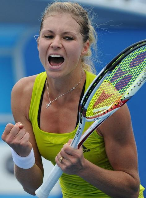 Maria Kirilenko celebrating a win at the 2010 Australian Open.JPG