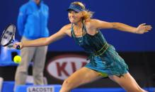 Maria Sharapova hits a defensive forehand at the 2010 Australian Open.JPG