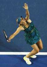 Maria Sharapova ball toss and serve at the Australian Open 2010.JPG