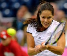 Ana Ivanovic two handed backhand during 2010 Fed cup.JPG