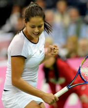 Ana Ivanovic celebrates with a clenched fist during Serbia Fed Cup play 2010.JPG