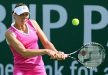 Vera Zvonareva ready to hit a 2 handed backhand at Indian Wells.JPG
