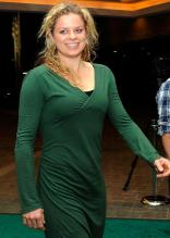 Kim Clijsters in a green outfit attends a tennis players party at Indian Wells.JPG