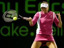 Vera Zvonareva hits a topspin forehand with her Prince racket in a pink tennis skirt.JPG