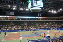 Andy Roddick Practices a serve at 2014 Tennis Match Against San Diego Aviators at Cedar Park Center.jpg