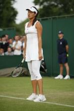 Ana Ivanovic in white tennis dress and white tights at Wimbledon 2010 not happy.JPG