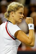 Kim Clijsters clenches her right fist in celebration.JPG