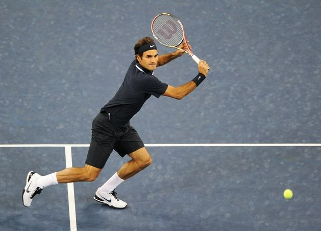 Roger Federer Set To Hit A Backhand Volley At The Us Open 2010 Jpg