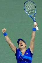Kim Clijsters raises her arms in triumph after she defeated Venus Williams to reach the 2010 US Open finals.JPG