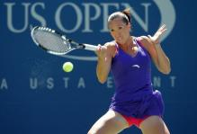 Jelena Jankovic hits a forehand during the 2010 US Open.JPG