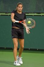 Amelie Mauresmo backhand contact point with the ball.jpg
