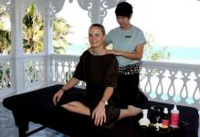 Caroline Wozniacki gets a massage in Thailand.JPG