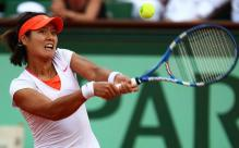 Li Na 2 handed backhand on a high ball during the French Open 2011 championship match.JPG