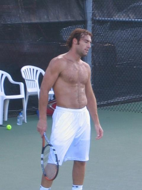 Robby Ginepri shirtless in white shorts.jpg