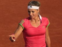 Maria Kirilenko gestures with her finger at the 2011 French Open.JPG