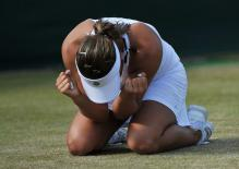 Tamira Paszek after winning her 3rd round match at Wimbledon 2011.JPG