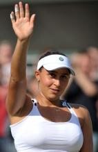 Tamira Paszek waves to the crowd after a big win at 2011 Wimbledon.JPG