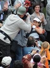 Ana Ivanovic embraces her supporters after winning the 2008 French Open.jpg