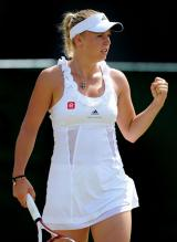 Caroline Wozniacki fist pump celebration during Wimbledon 2011.JPG