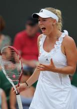 Caroline Wozniacki yells in frustration during 2011 Wimbledon.JPG
