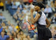 Venus Williams celebrates her first round victory at the 2011 US Open.JPG