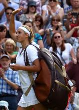 Victoria Azarenka waves to the crowd after losing her semi-final match at 2012 Wimbledon vs Serena Williams.JPG