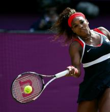 Serena Williams hammers a forehand during the 2012 Olympics.JPG