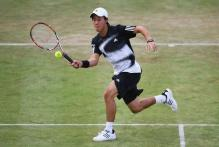Kei Nishikori forehand volley on grass.jpg