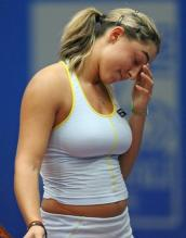 Tamira Paszek in a tight white top.jpg