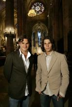 Roger Federer and Rafael Nadal inside Mallorca's Cathedral in Palma de Mallorca.jpg