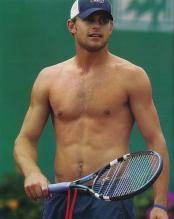 Andy Roddick not wearing a shirt practicing.jpg
