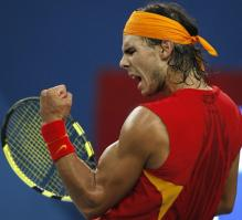 Rafael Nadal celebrates a point during his Olympics gold match.jpg