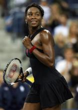 Venus Williams celebrates a point at the US Open 2008.jpg
