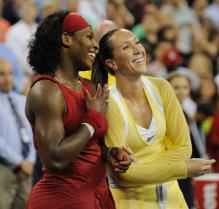 Serena Williams has a laugh with Jelena Jankovic as they await their US Open trophies.jpg