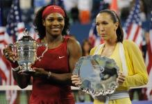 Serena Williams and Jelena Jankovic hold up their trophies.jpg