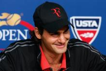 Roger Federer smiles during his postgame conference after winning the 2008 US Open.jpg